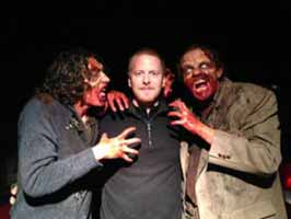 Steve Tolin gets attacked by zombies for Maggie vs the Evil Dead
